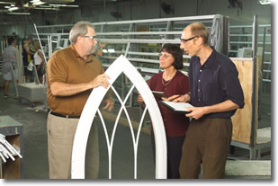 Regina Becker and Nels Grevstad speak with Ryan Wiegand of American Window and Glass, Inc.